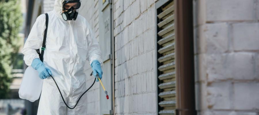 Pest control tech spraying around building
