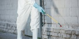 pest tech spraying chemicals around building